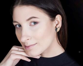 Ear climber earrings, porcelain jewelry, gold earrings, ear cuff earrings, gold leaf earrings, gold plated earrings, trendy jewelry