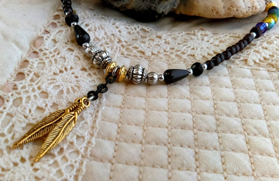 Gothic Wiccan Black Chain Bead Necklace Gold Feathers Beads Tibetan Silver Beads Rainbow Beads