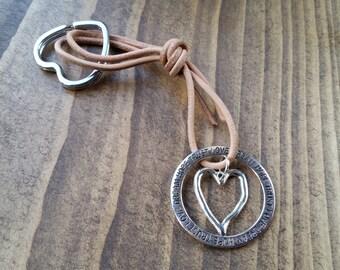 Heart Leather Keyring-Keychain-handbag Charm-Trust-Hope-Love-Dream-Mother's Day-birthday-thankyou-bridesmaid-personalised-love you