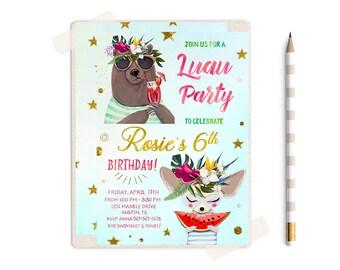 Luau Invitation, Luau Birthday Invitation, Pool Party Invitation, Pool Party Birthday Invitation,  Luau Invitations, Luau Invites, Summer,