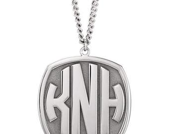 Custom Sterling Silver 3-Letter Block Monogram Necklace/ Monogrammed Necklace/ Personalized Necklace
