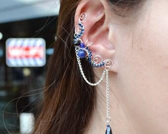 Lapis Lazuli Earrings Something Blue For Bride Cartilage Earring Fake Piercing Cartilage Chain Earrings Ear cuff Non Pierced Earrings