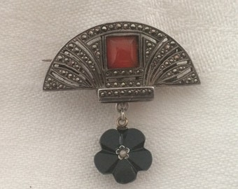 Vintage Art Deco Marcasite Brooch with Hanging Black French Jet Glass Flower