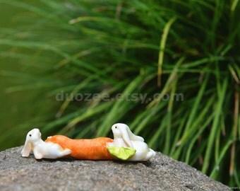 Miniature Enchanted Fairy Garden House Bunnies Carrying Carrot, Fairy Garden Bunny, Fairy Garden Animal, Miniature Rabbit, Rabbit Figurine