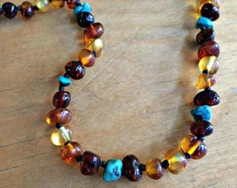 Amber Teething Necklace - Amber Turquoise Baltic Amber Necklace, Baltic amber teething necklace, southwestern baby necklace, turquoise baby