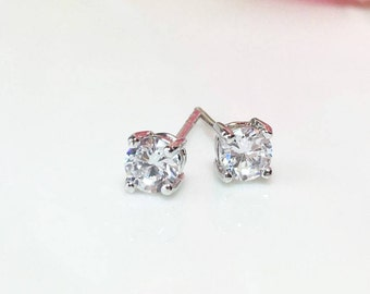 Tiny Diamond Stud Earrings, White Gold Diamond Stud Earrings,4mm Diamond Earrings,Classic Diamond Earrings, Everyday Earrings, Minimalist