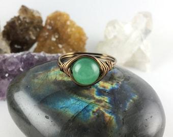 Aventurine ring, Aventurine stone ring, natural stone ring, wire ring, wire stone ring, Aventurine jewelry, crystal ring, healing stones