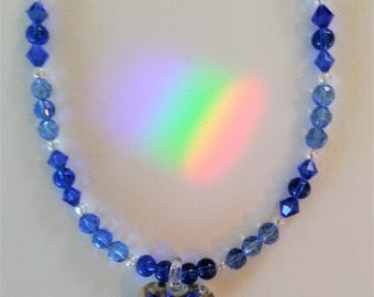 Blue Lampworked Glass Heart Beaded Necklace