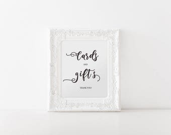 Cards and Gifts Sign, Printable Wedding Sign, Instant Download Gift Table Reception Sign, Calligraphy, PDF, Wedding Printable