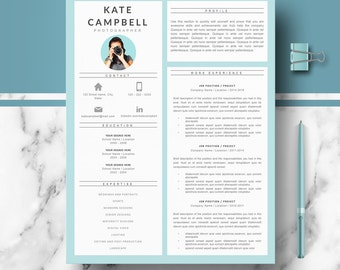 Modern & creative Resume, CV Template; Resume Templates for Word, Pages; Resume, cv + Cover Letter + References + tips; Instant Download CV,