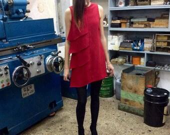 Ηand made, asymmetrical, crep, modern style mini dress