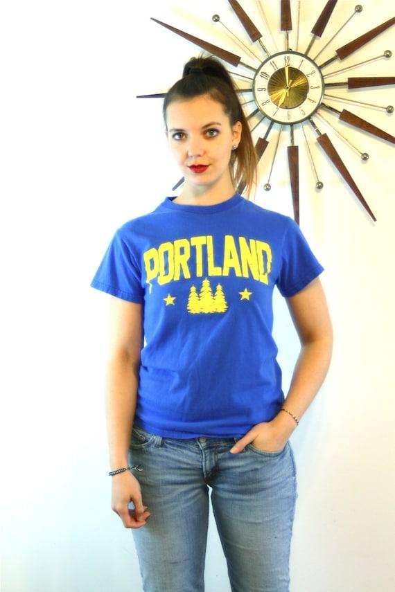 Vintage 80s Portland T-Shirt Bright Royal Blue Cotton Yellow Print Pine Trees Star Oregon State College University Tourist Tee Size S