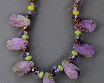 Stichite Serpentine Teardrop Necklace Rare Purple Lavender and Green Stones w Amethyst Serpentine and Bronzite Colorful Gemstone Jewelry