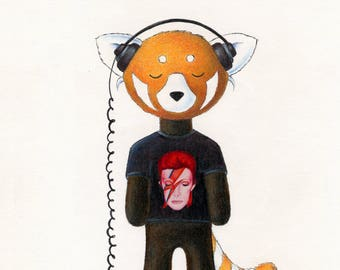 Walter the Red Panda, Listening to David Bowie, Aladdin Sane 8 x 10 Print by SBMathieu