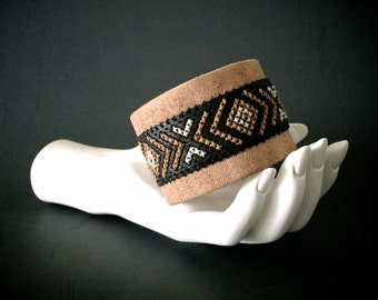 Wide Leather Cuff Bracelet with Cross Stitch Geometric Chevron Designs in Black and Natural Leathers