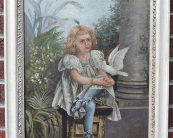 Antique VICTORIAN Oil Painting GIRL w/ White DOVE Blue Stockings Garden  c1890s