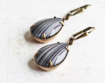 Gray and Black Rhinestone Drop Earrings on Antiqued Brass Hooks (Leverback or Fishhook)