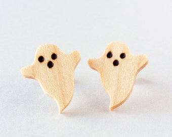 White ghost earrings, Cute little ghosts, Tiny ghost earrings, Wooden ghost stud earrings, Funny handmade earrings