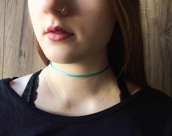 Teal blue shiny satin choker necklace | Dainty choker | Delicate choker | Simple choker | Minimalist choker | Thin choker | Summer jewelry |