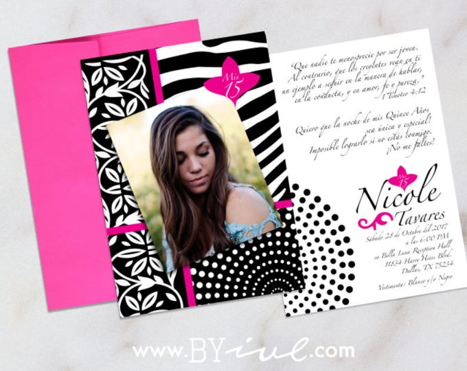 Quinceañera invitation with custom image zebra and hot pink theme. Sweet sixteen party. English or Spanish