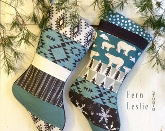 Blue Christmas Stocking Set of 2 - Aztec, Arctic Polar Bears, Handmade, Personalized, White,Teal, Black, Modern, Quilted, Holiday Decor