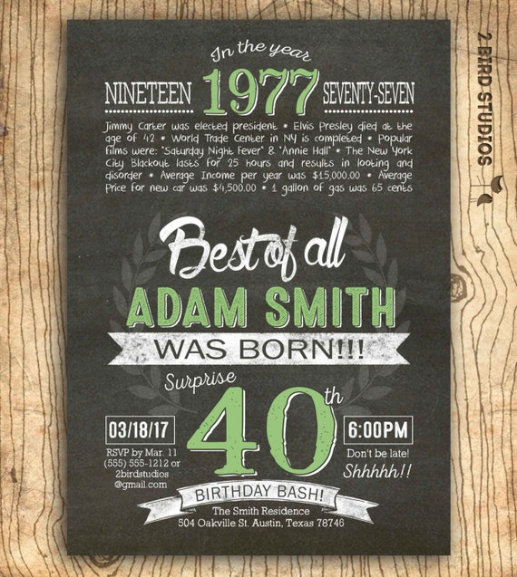 40th birthday invitation Surprise 40th birthday invite chalkboard