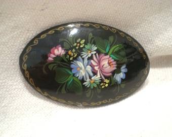 Antique Hand Painted Pin Brooch Flowers Colorful Detail Lacquered Black Background Beautiful Condition Free Ship In USA