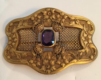 Victorian Art Nouveau Style Sash Brooch with Floral & Mesh Brass an Amethyst Glass Stone...Large Sash Pin/Brooch