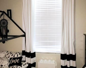Sale! Custom Black and White Striped Curtains, Stripes, Color Blocked, Nursery Curtains, Striped Home Decor, Black Striped Curtains,