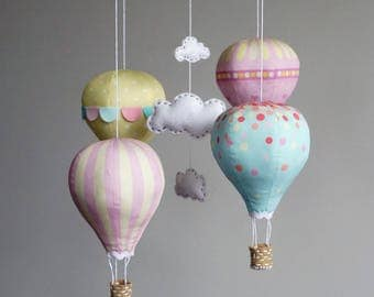 Nursery decor DIY baby mobile kit hot air balloon - modern nursery decor, Candy Floss, pink, cream, yellow, blue