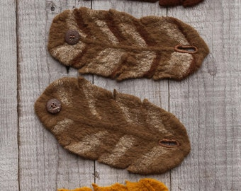 Pixie Felt Cuff (1) in Merino Wool // Silk Fibers and Coconut Buttons // Faery // Pixie // Elf Cuffs