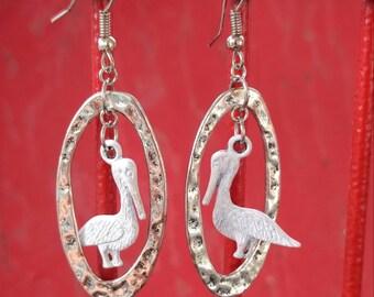 White Pelican Earrings, PELICAN JEWELRY, Beach EaRRings, BEACH JeWElry, Hypo Allergenic