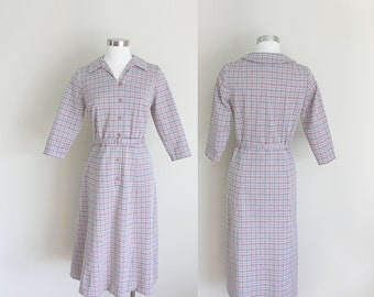 1960s Wiggle Dress | Secretary Dress | Plaid Dress | Tartan Dress | Small
