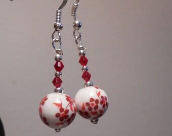 Red Flower Glass Earrings Item No. 693