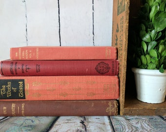 Decorative Books, Book Bundle, Vintage Books, Red Books, Antique Books, Old Books,Props, Historic Books, Shelf Decor, Event Centerpieces