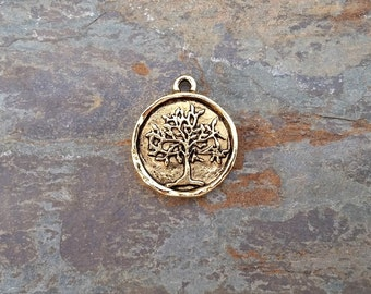 Tree of Life Coin Pendant Charm Gold Pewter N28,tree of life pendant,tree of life charm,tree of life coin,gold tree of life,gold coin charm