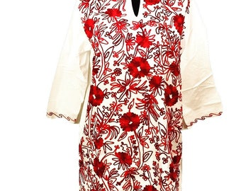 Women 100% Cotton tunic dress kurti kurta top all over red hand Embroidered ethnic indian Boho bohemian Sz XL plus white red.