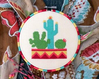 Modern Cross Stitch Pattern PDF, Cactus Cross Stitch, Cacti Plants Counted Design, Desert, Mexican, Botany Cross Stitch