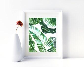 Banana Leaf Print Watercolor Print Palm Leaf Print Banana Leaf Art Tropical Leaf Print Tropical Painting Printable Tropical Leaves