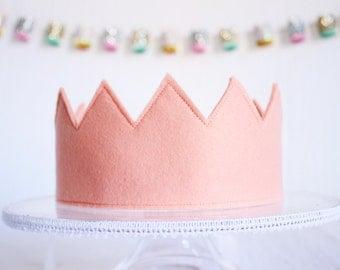 Full Felt Crown || Full Birthday Hat with Ribbon Tie Back || Baby Girl Gift || Blush