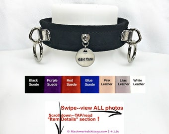 BDSM Collar with Engraved Slave TAG and 2 Rings Lockable Genuine Suede or Leather; Black, Red, Purple, Blue, Pink, Lilac, White