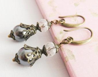 Grey pearl earrings, dangle earrings, rustic jewelry, gray jewelry, pearl and crystal, gift for her, bronze earrings