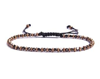 Men's Jewelry - Men's Bracelet - Gunmetal and brass men's beaded bracelet - Adjustable faux black leather bracelet knot - Father's Day gift