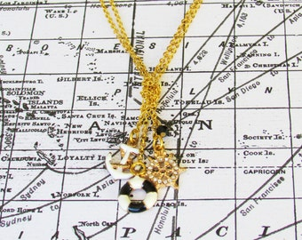 Black and White Nautical Sea Necklace, Gold Anchor Necklace