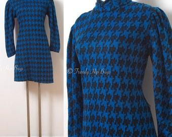 Vintage Houndstooth Dress, Vintage Blue Dress, Vintage Sweater Dress, Turtle neck dress, Vintage knit dress, 80s dress - M/L