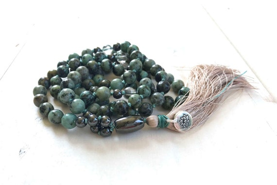 African Turquoise Mala Beads, Mala For Positive Change, Third Eye Chakra Mala, 108 Mala Beads, Yoga Jewelry, Gemstone Mala Beads