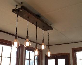 5 Edison rustic chandelier Pendant lights Reclaimed wood Edison bulbs rustic lighting