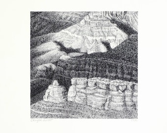 Grand Canyon art print, landscape drawing in pen and ink