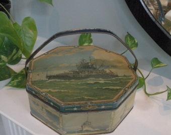 Vintage Loose-Wiles Biscuit Tin Depicting 9 World War II Navel Ships