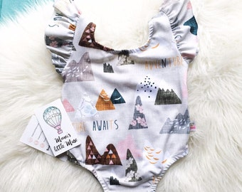 Adventure Awaits Flutter Sleeve Toddler Leotard - Baby Girls Clothes - Baby Leotard - Baby Shower Gift - Girls Leotard